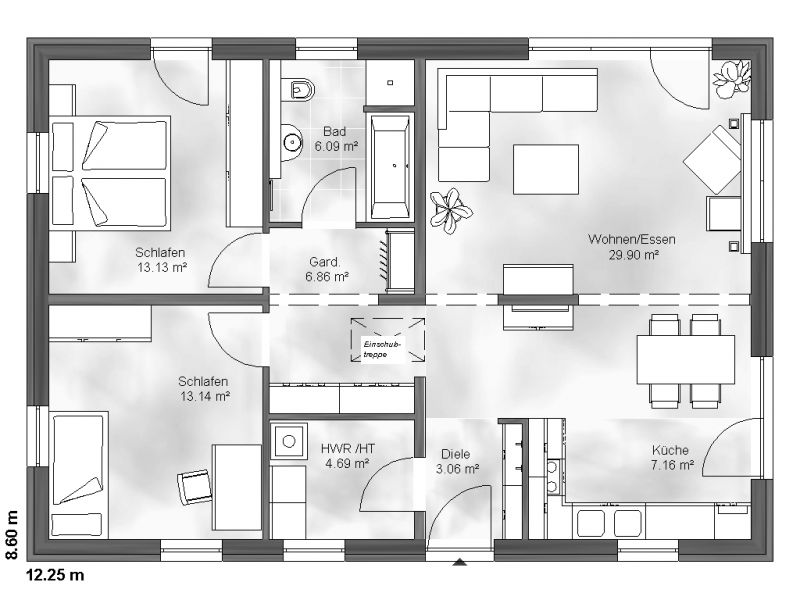 Grundriss bungalow 4 zimmer  Bungalow bauen - Schlüsselfertig und modern